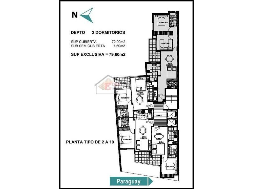 Departamento de 2 dormitorios   2 baños | Paraguay y Riobamba - Rosario