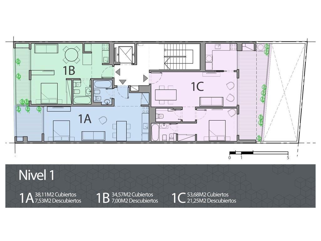 Dos ambientes con suite, toilette y cocina. Balcón aterrazado con parrilla
