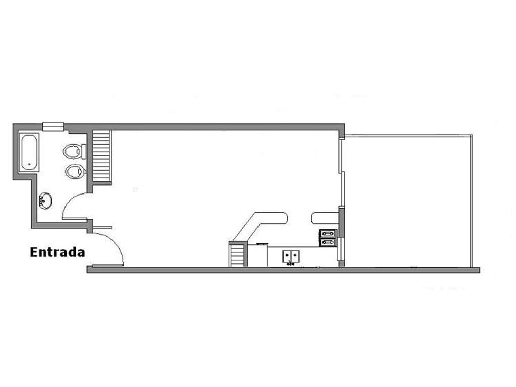 ambiente con terraza al frente a metros subte. En edificio nuevo.