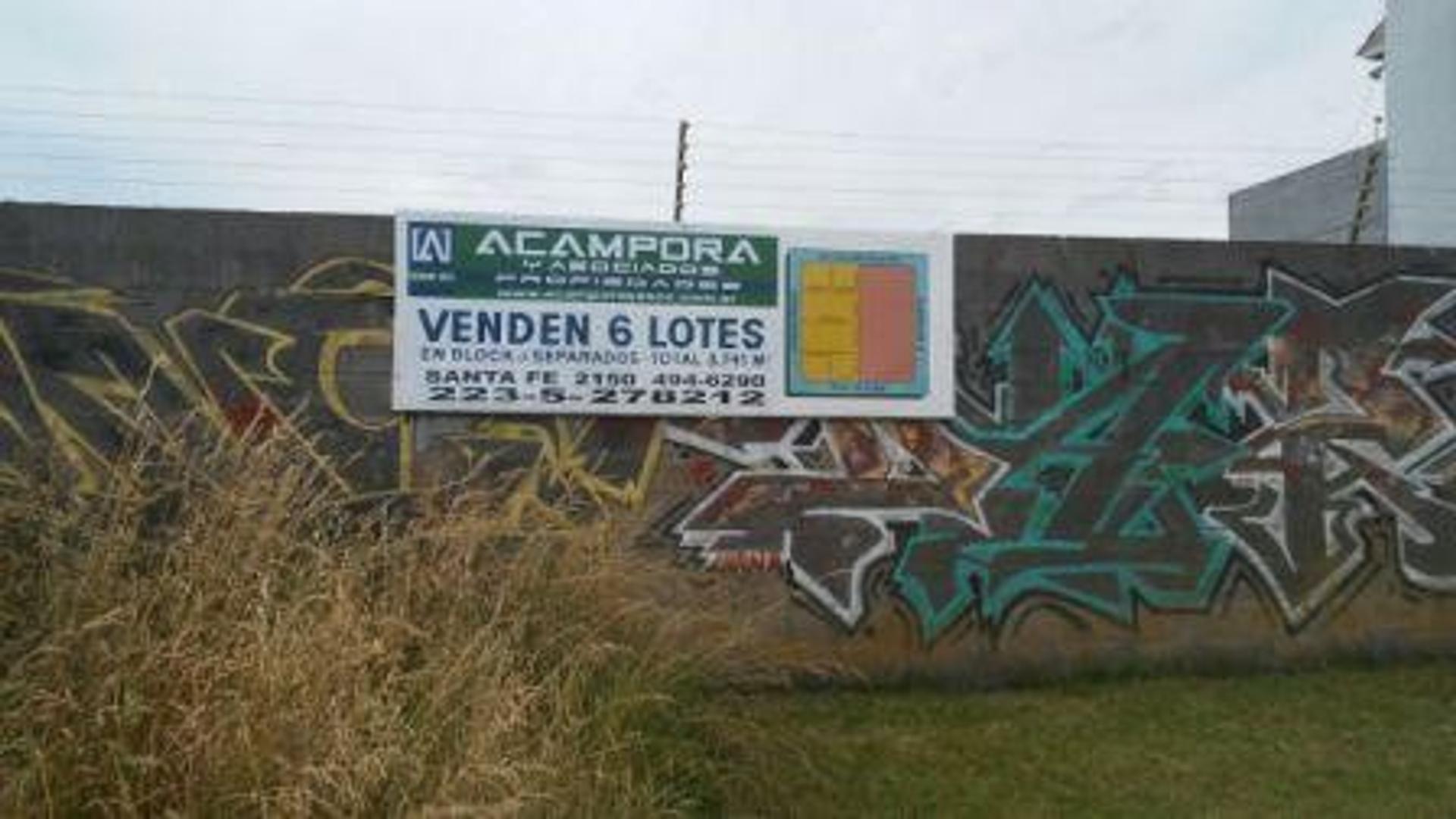 Venta de 6 lotes en block apto industria liviana barrio Santa Rita