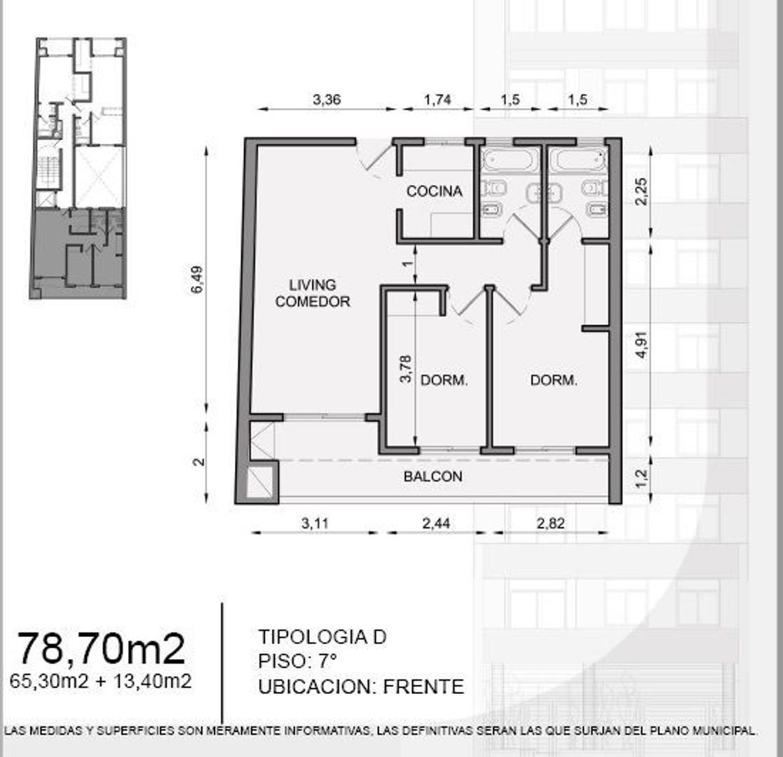 Tres ambientes a estrenar con 2 baños, balcon y parrilla.