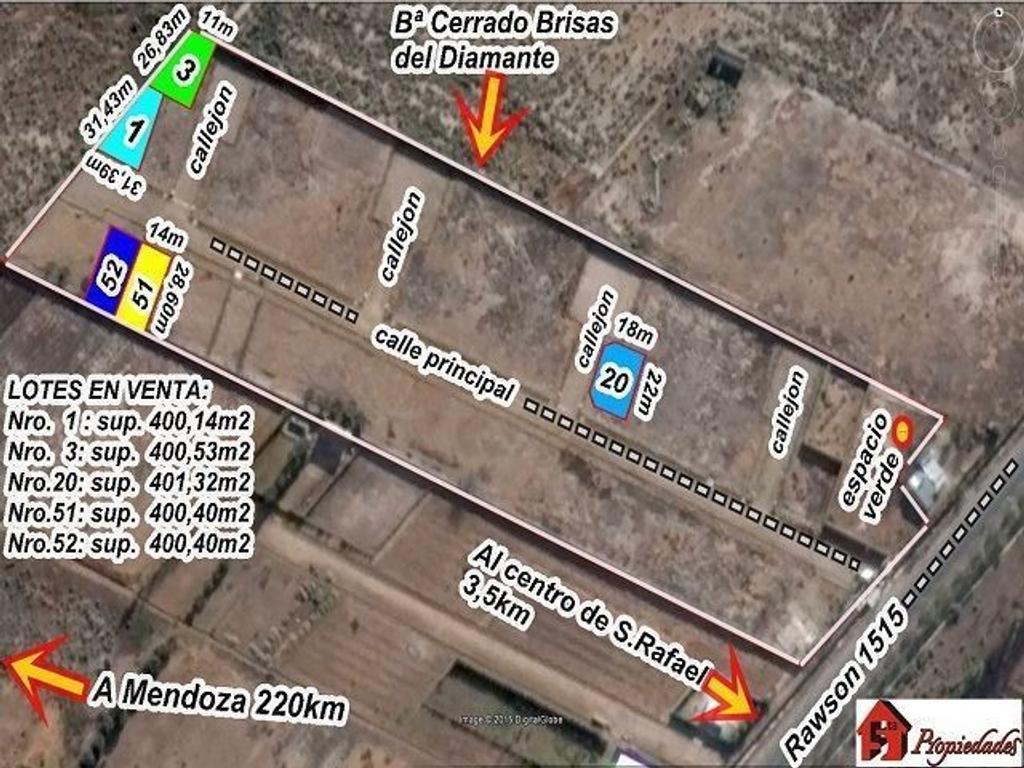 LOTES 400M2 – $ 340 mil - Bº CERRADO BRISAS DEL DIAMANTE – SAN RAFAEL –MZA