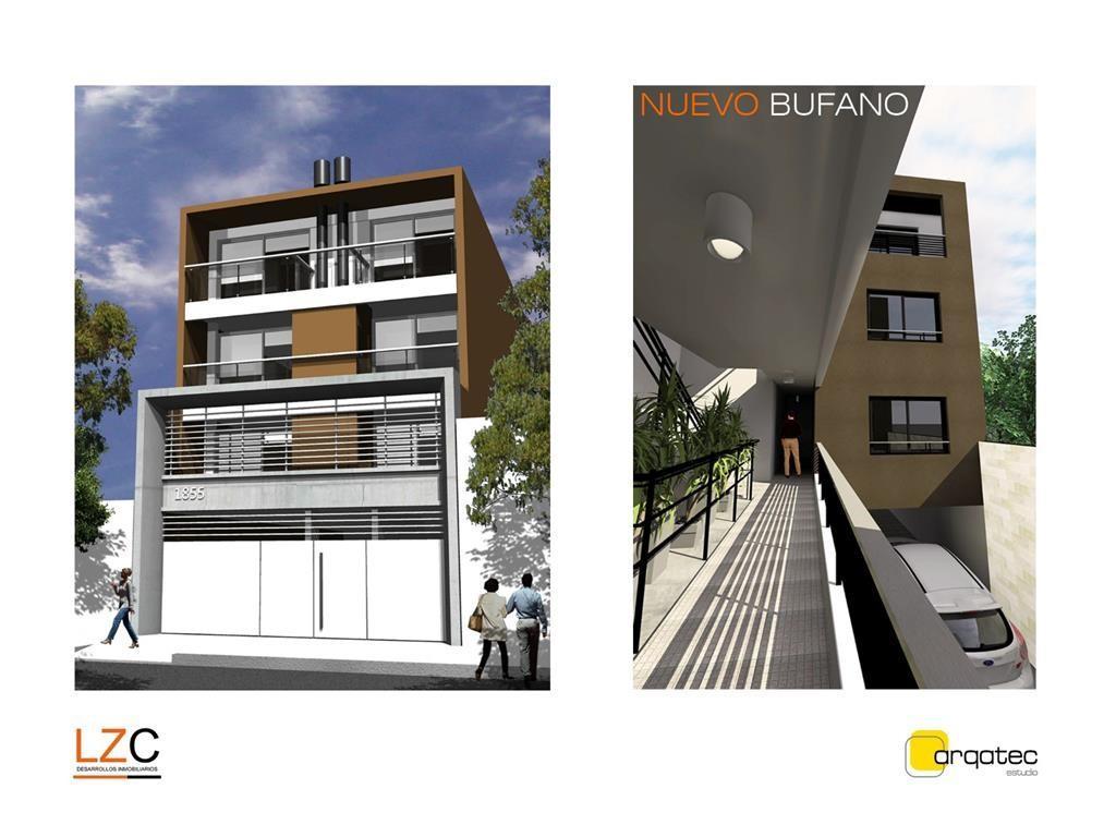 Dto. en venta a estrenar de 2 amb. 1er piso, al frente con balcón terraza, 67.7m2, cochera optativa
