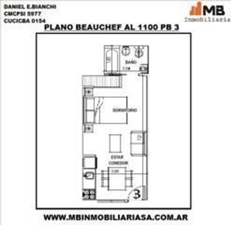 Parque Chacabuco venta monoamb. en Beauchef al 1100 PB°3