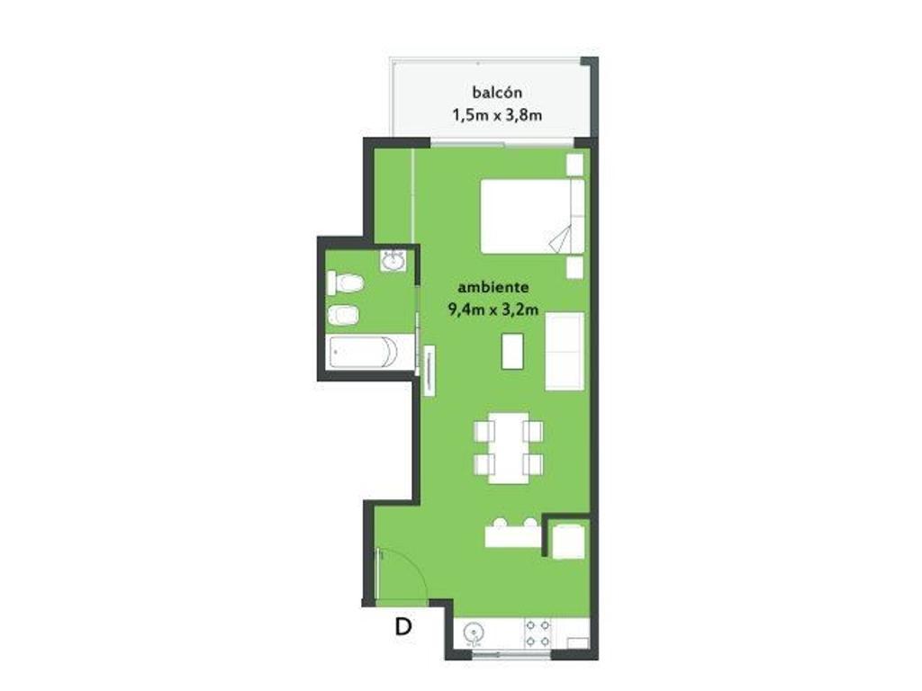 Confortable  Monoambiente con cochera - 40 m2 Totales - Funcional y Moderno - Doble ventilacion