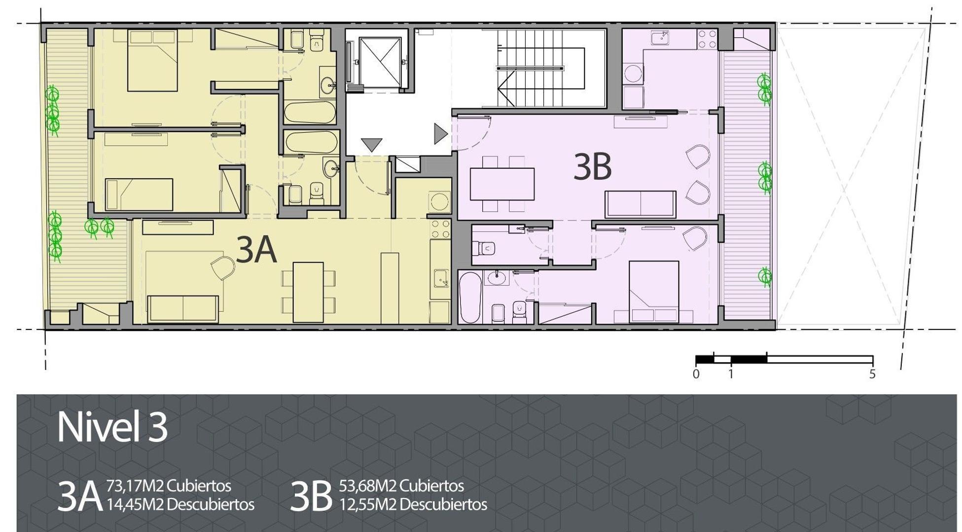 Semipiso 3 amb al frente con suite y balcon con parrilla
