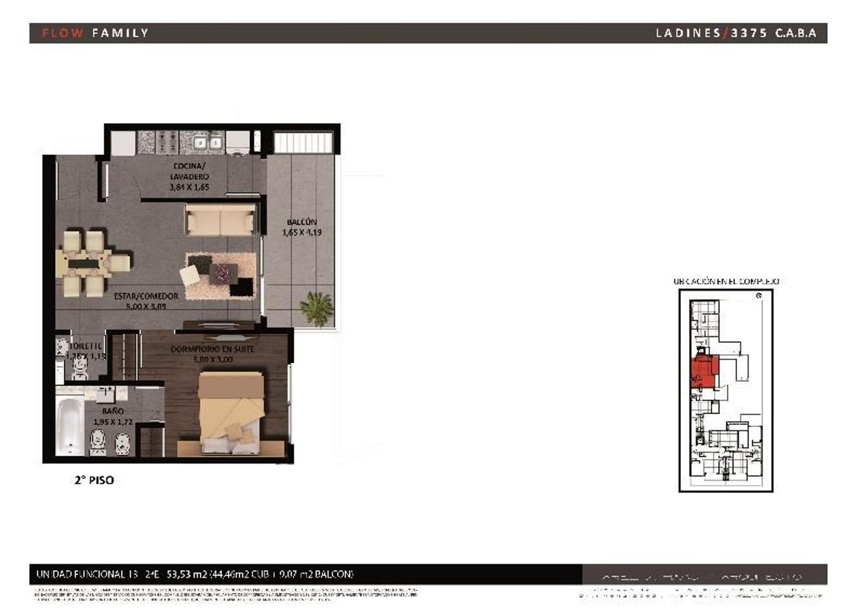 Departamento 2 ambientes a estrenar  con bño toil y bcon tza y parrilla  (Suc. Mosconi 4574-4444)