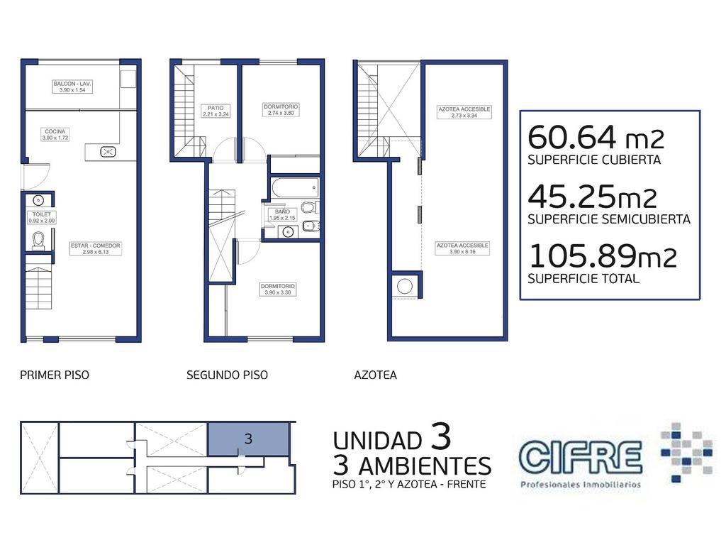 Ph 3 ambientes + patio + tza + cochera (Sucursal Pueyrredon 4574-4444)