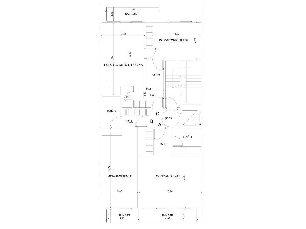 2 ambientes contra frente con balcón, baño y toilette en pozo, entrega Marzo/19