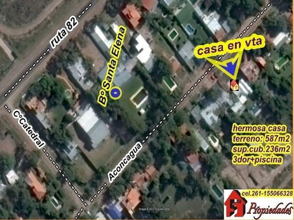 LUJAN DE CUYO: Bº Sta. Elena: Excelente  casa, 3dor, piscina, vista panorámica espectacular