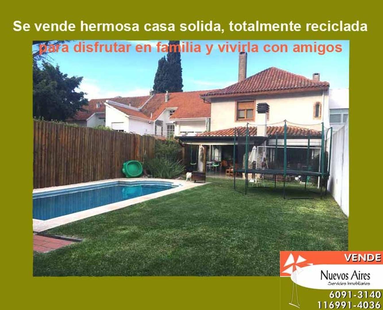 RETASADA - Casa Impecable reciclada de 5 dorm + play + cochera 2 autos + jdin  + pileta + parrilla
