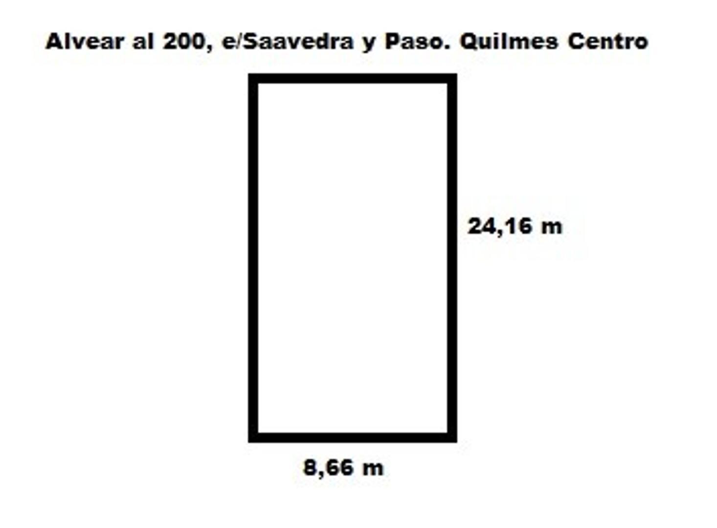 Lote de terreno de 8.66 x 24.16 m - Alvear al 200 e/Paso y Saavedra, Quilmes Centro