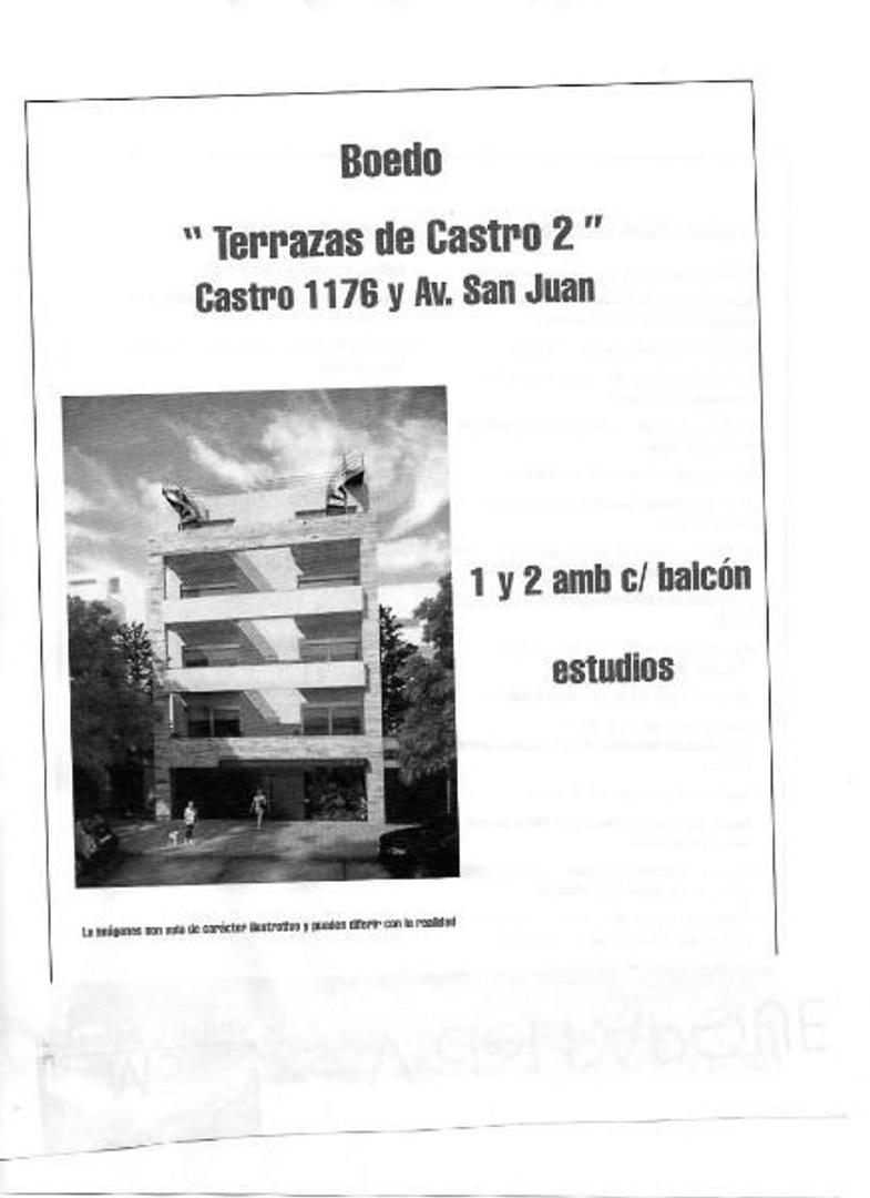 PREVENTA BOEDO, CASTRO y AV SAN JUAN,   2 AMBIENTES, BCON TZA, APTO PROF, AMENITIES. HAY FACILIDAD