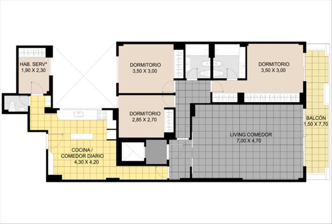 Departamento en Venta de 4 ambientes en Capital Federal, Caballito