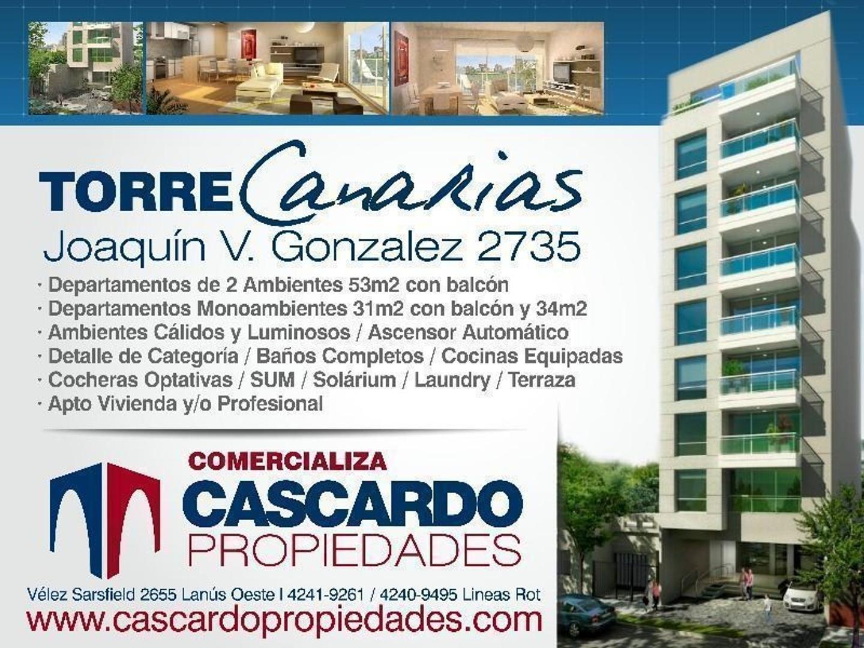 Emprendimiento en Construcción Torre Canarias Departamentos de 1 y 2 Ambientes en Lanús Oeste