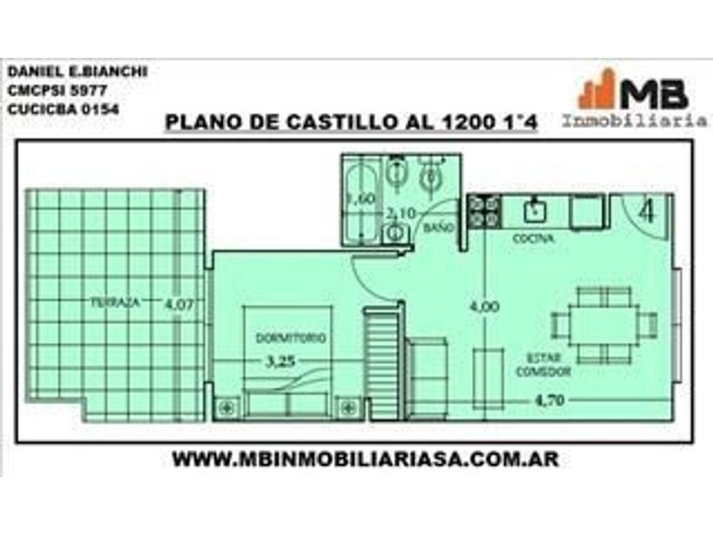 Chacarita venta PH 2 amb.c/terraza en Castillo al 1200 1°4