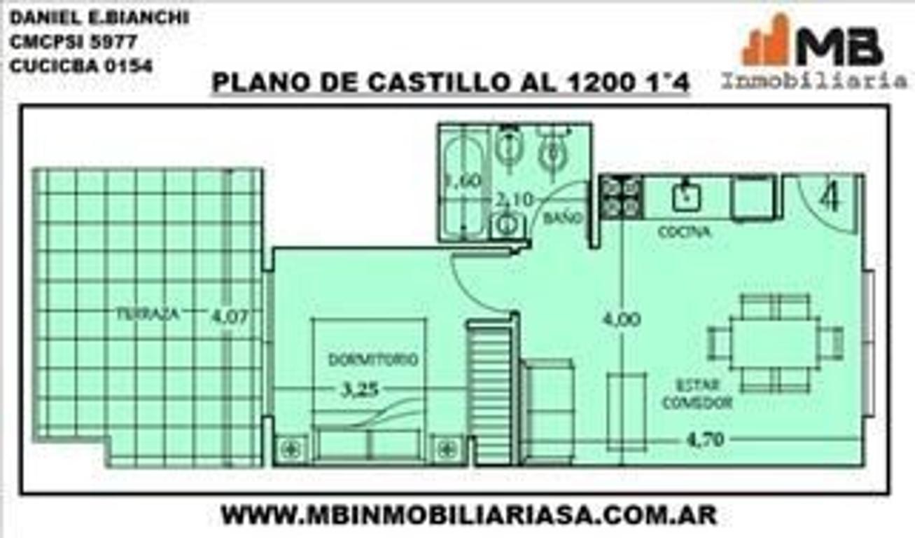 VENDIDO!!Chacarita venta PH 2 amb.c/terraza en Castillo al 1200 1°4