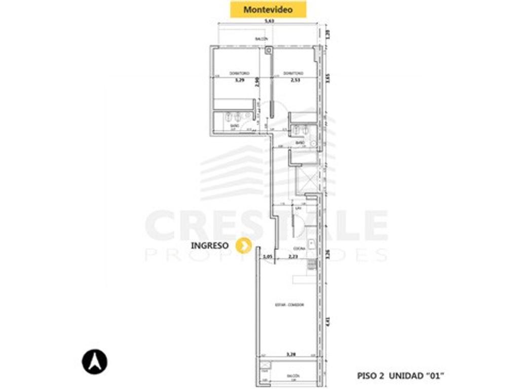 Montevideo y Pueyrredón - Departamento 2 dormitorios a la venta