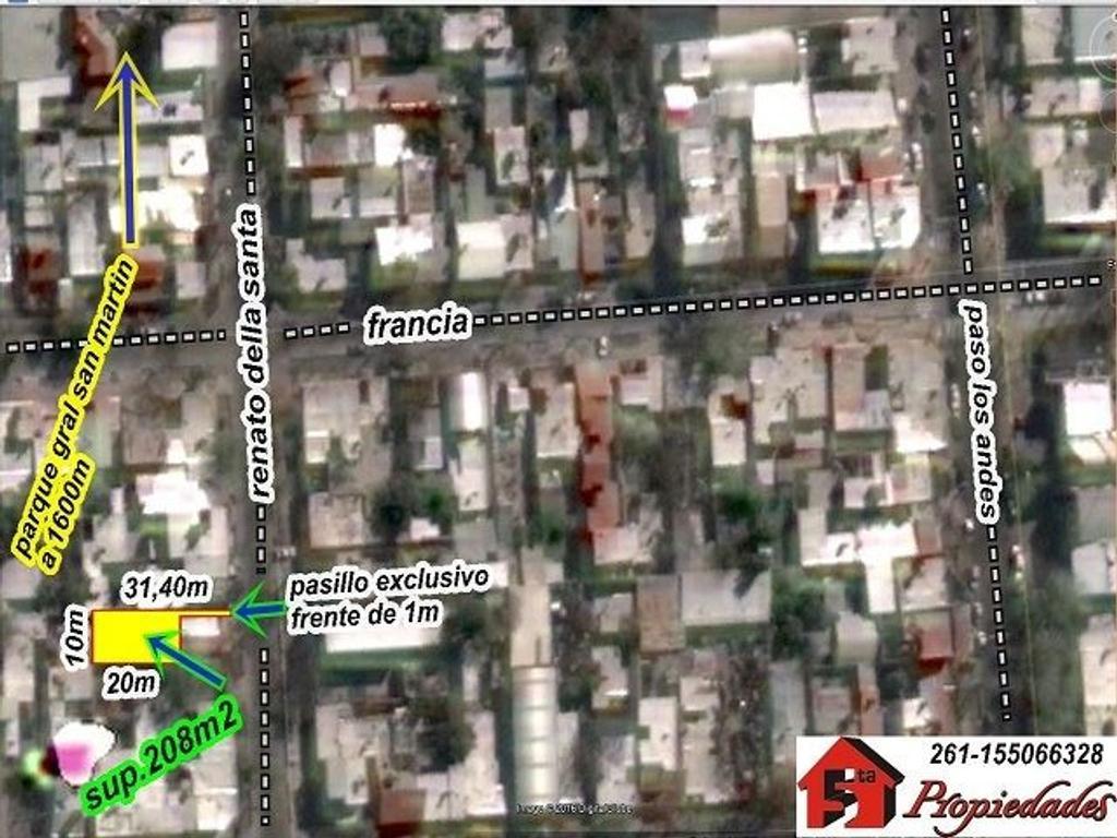 G.Cruz -lote interno 208m2 - della santa/francia - adyacente paso los Andes