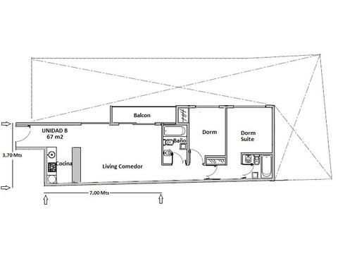 3 Ambientes semipiso. Liv-Com a balcon, 2 dormitorios (1 suite). Edificio a Estrenar con Amenities