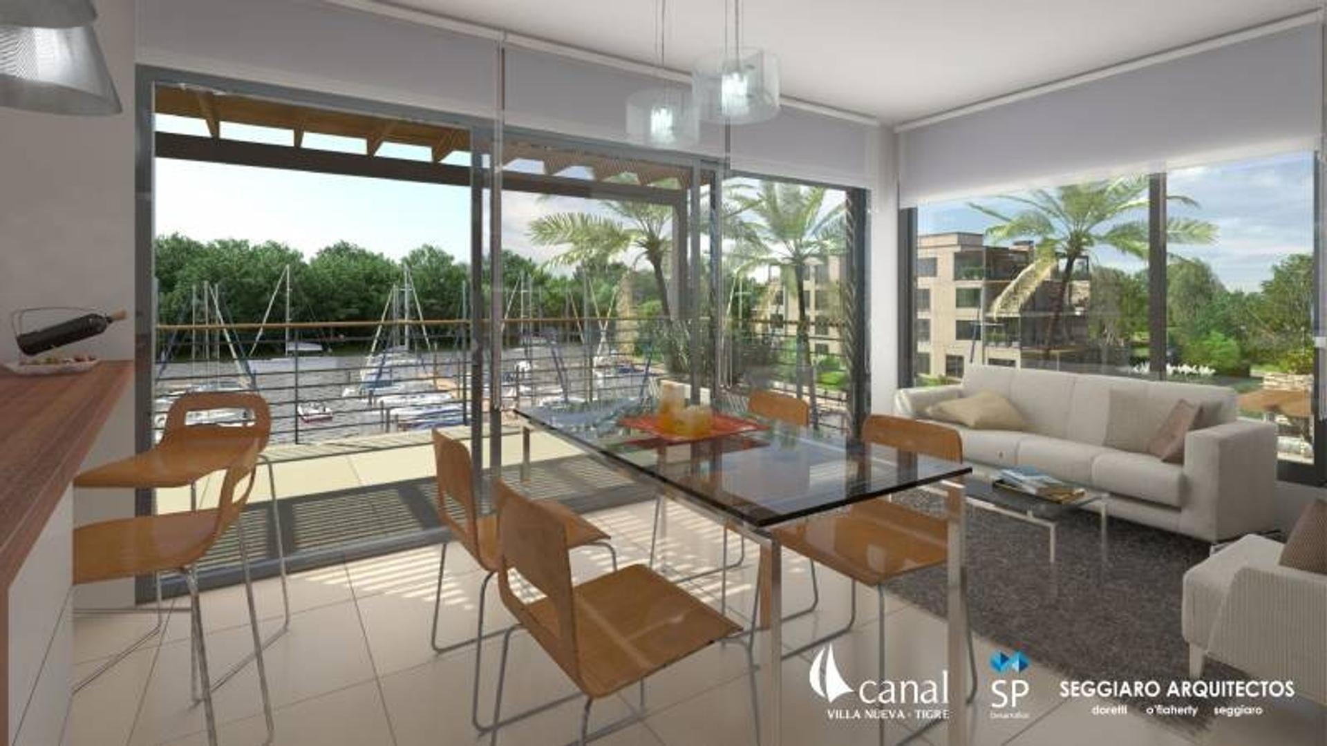 Departamentos en 1° Piso 3 ambientes en Edificios C y D - CANAL Terrazas al Río